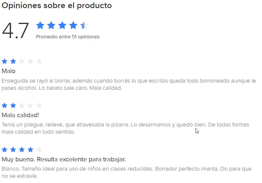 Opiniones sobre un producto